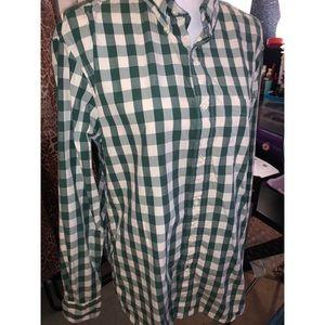 Green Plaid Nautica Long Sleeve Button Up